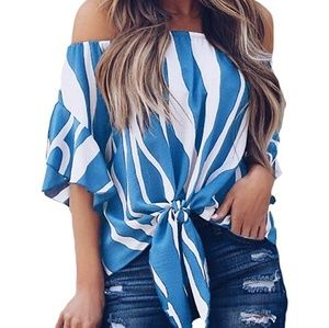 Striped Off Shoulder Bell Sleeve Shirt Tie Knot